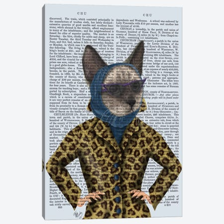 Cat With Leopard Jacket I Canvas Print #FNK207} by Fab Funky Canvas Art Print