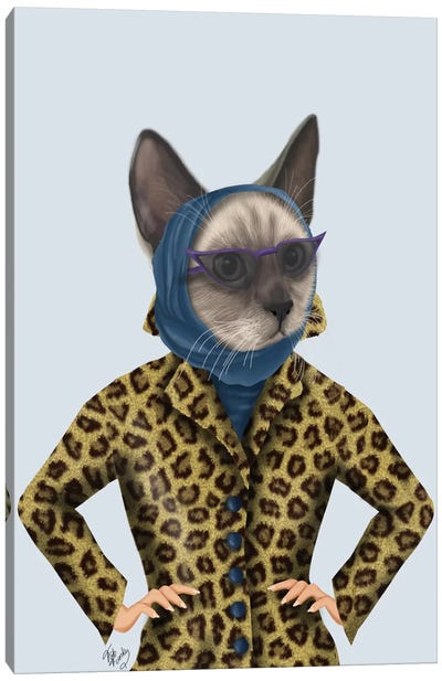 Cat With Leopard Jacket II Canvas Art Print