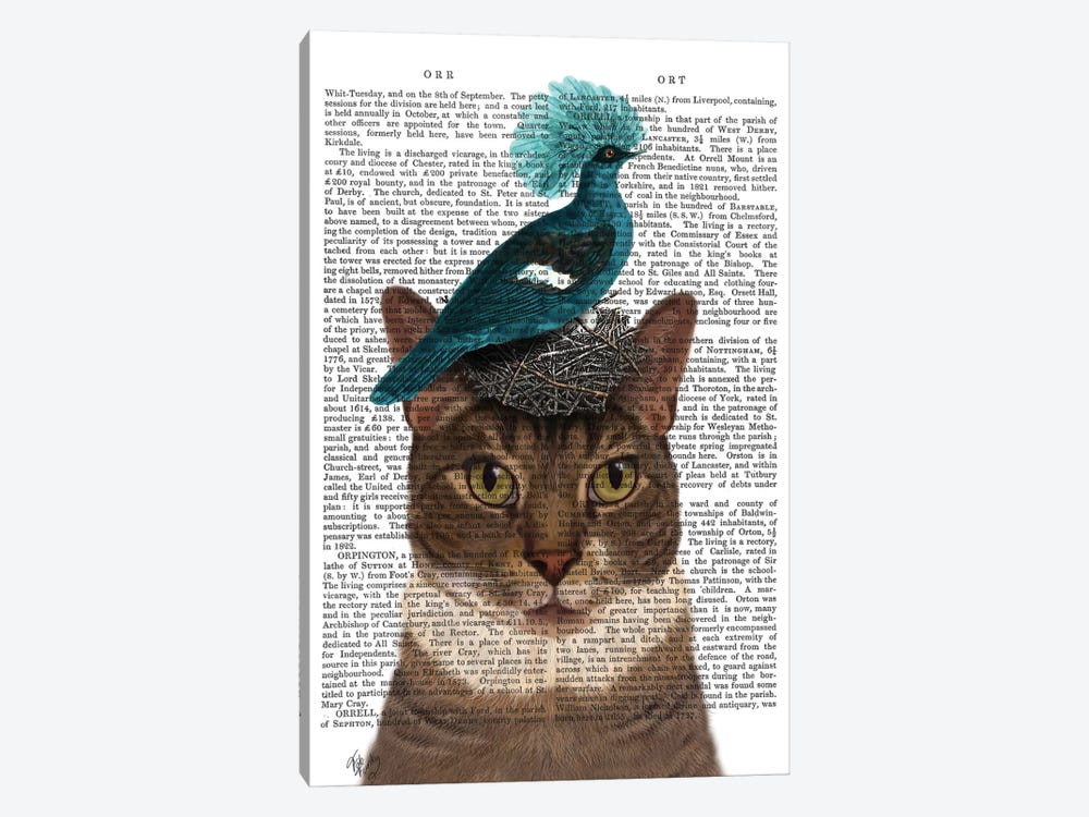 Cat With Nest And Blue Bird I by Fab Funky 1-piece Canvas Wall Art