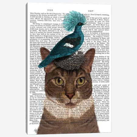 Cat With Nest And Blue Bird I Canvas Print #FNK209} by Fab Funky Canvas Art