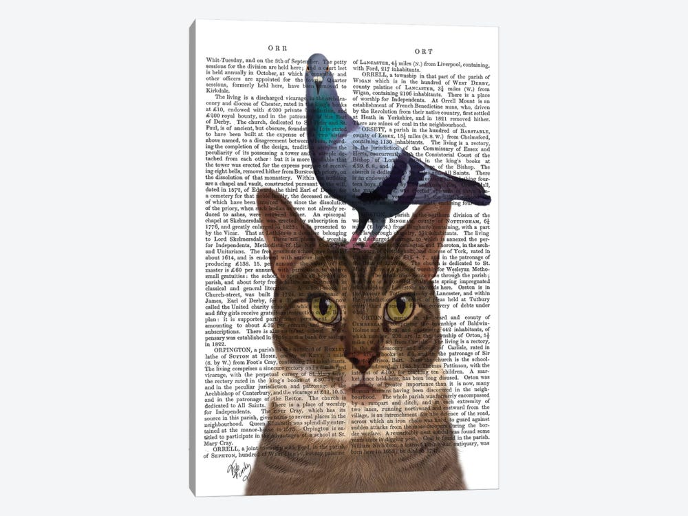 Cat With Pigeon On Head I by Fab Funky 1-piece Art Print