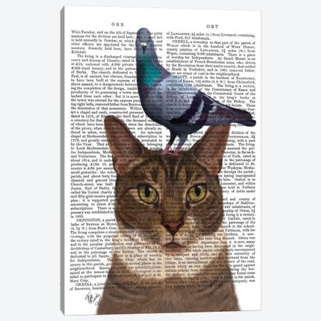 Cat With Pigeon On Head I Canvas Print #FNK211} by Fab Funky Canvas Print