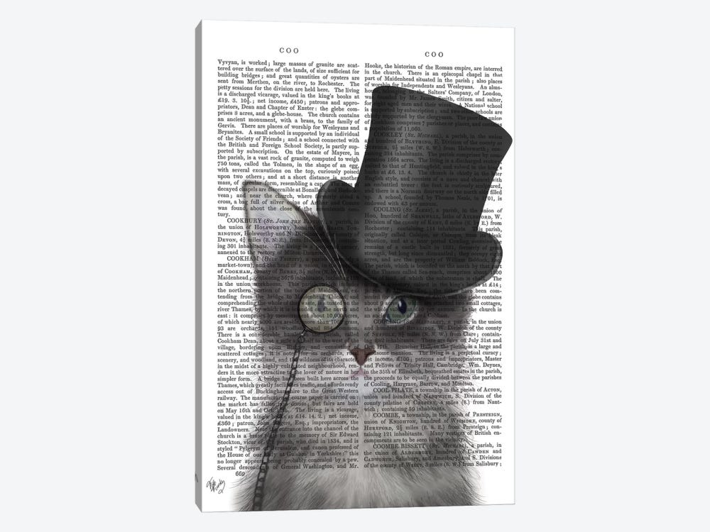 Cat With Top Hat I by Fab Funky 1-piece Canvas Art Print