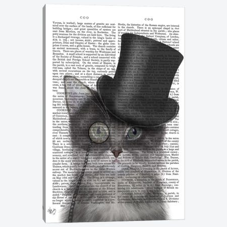 Cat With Top Hat I Canvas Print #FNK213} by Fab Funky Canvas Art Print