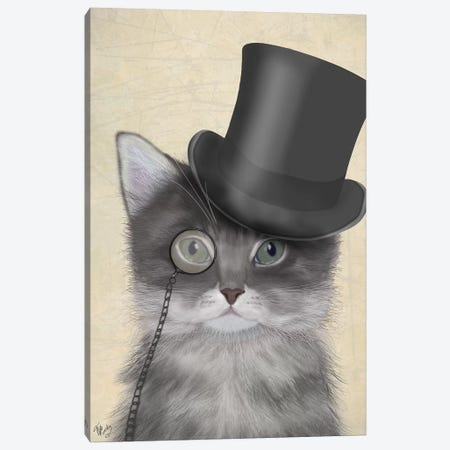 Cat With Top Hat II Canvas Print #FNK214} by Fab Funky Canvas Wall Art