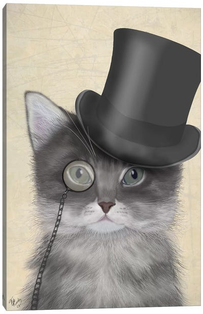 Cat With Top Hat II Canvas Art Print