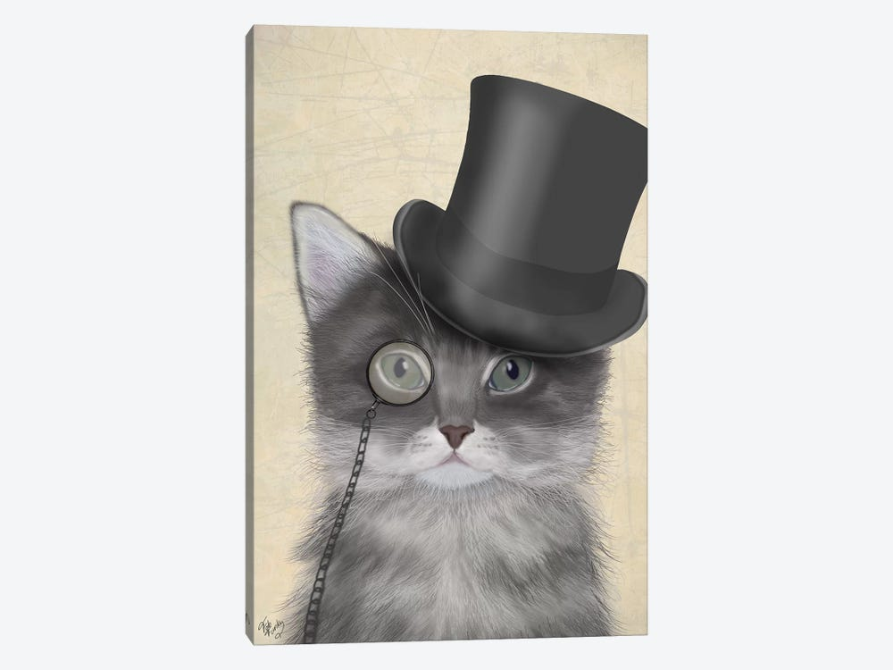 Cat With Top Hat II by Fab Funky 1-piece Canvas Wall Art