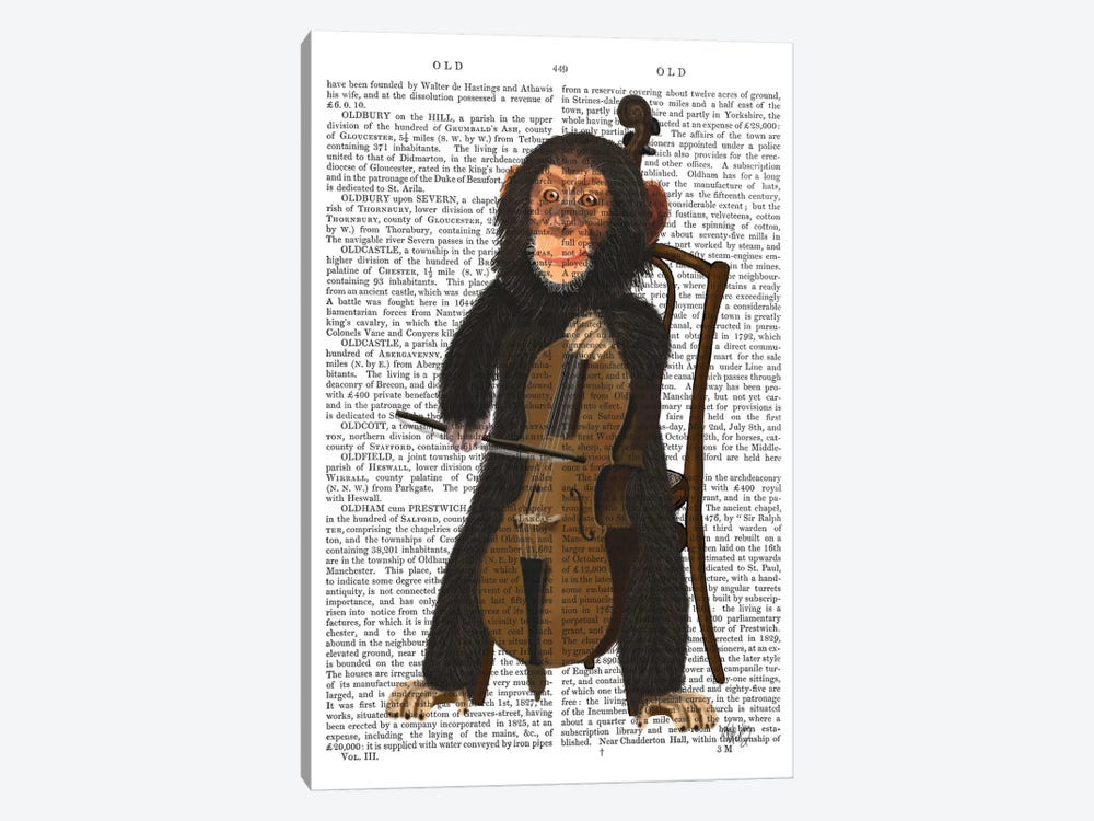 Chimp Playing A Cello I by Fab Funky 1-piece Art Print