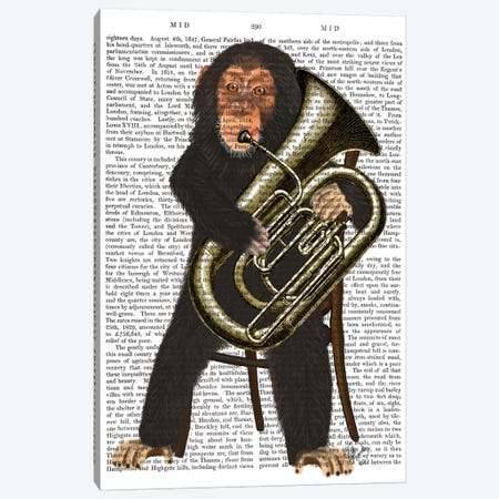 Chimp Playing A Tuba I Canvas Print #FNK216} by Fab Funky Canvas Wall Art