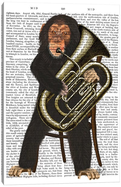 Chimp Playing A Tuba I Canvas Print #FNK216