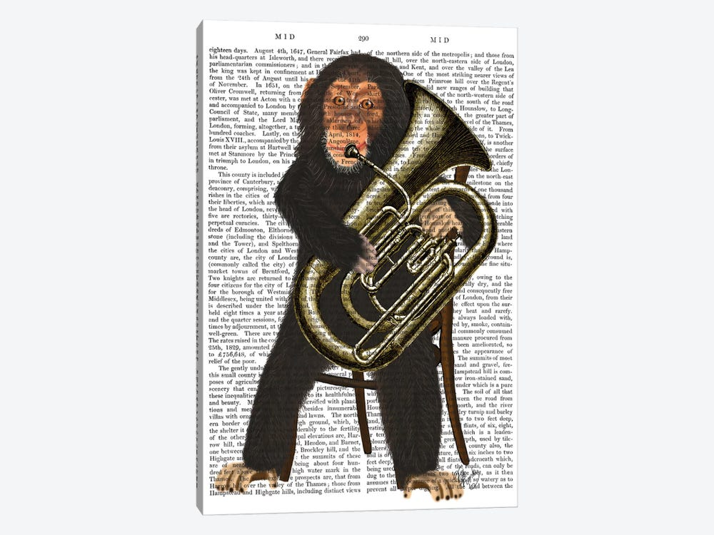 Chimp Playing A Tuba I by Fab Funky 1-piece Canvas Wall Art