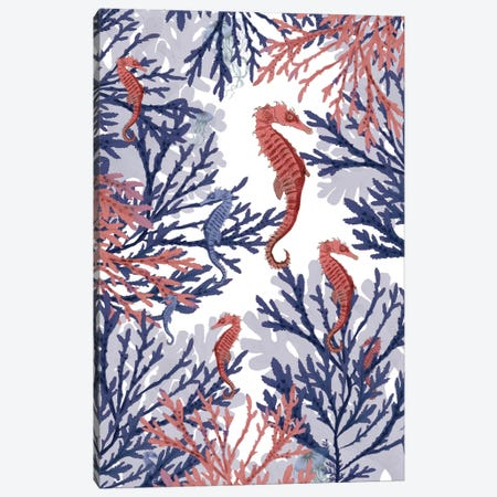 Coral And Seahorses Canvas Print #FNK217} by Fab Funky Canvas Art