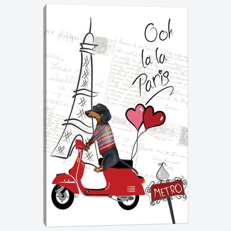 Dachshund In Paris Canvas Print #FNK219} by Fab Funky Canvas Print
