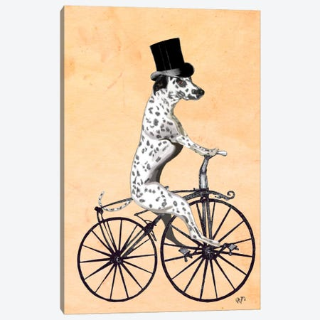 Dalmatian On Bicycle Canvas Print #FNK21} by Fab Funky Canvas Art Print