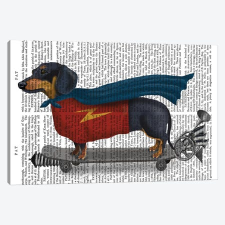 Dachshund On Skateboard I Canvas Print #FNK220} by Fab Funky Canvas Art
