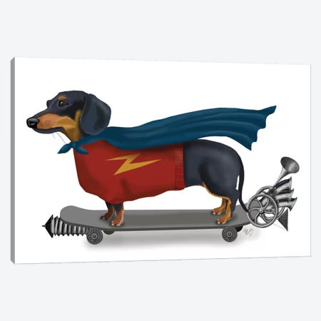 Dachshund On Skateboard II Canvas Print #FNK221} by Fab Funky Canvas Artwork