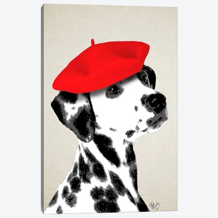 Dalmatian With Red Beret Canvas Print #FNK22} by Fab Funky Canvas Art Print