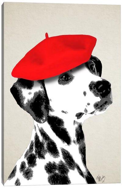 Dalmatian With Red Beret Canvas Print #FNK22