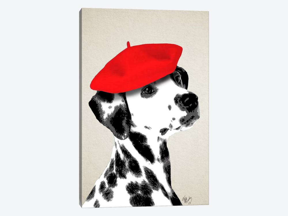 Dalmatian With Red Beret by Fab Funky 1-piece Canvas Artwork