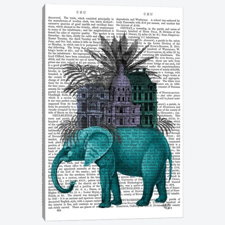 Elephant And Citadel I Canvas Print #FNK234} by Fab Funky Canvas Artwork