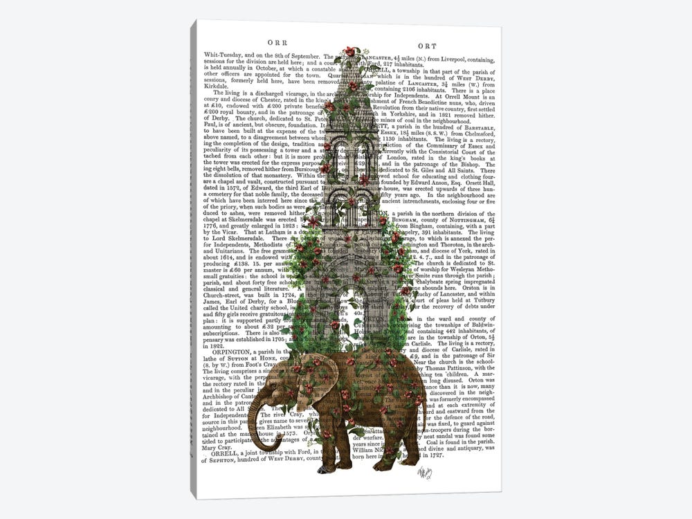 Elephant Tower I by Fab Funky 1-piece Canvas Art