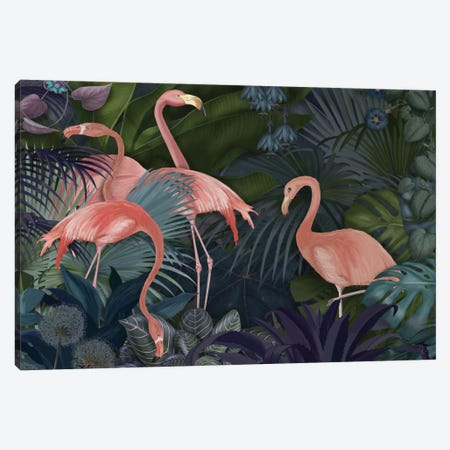 Flamingos In A Garden II Canvas Print #FNK247} by Fab Funky Canvas Art Print