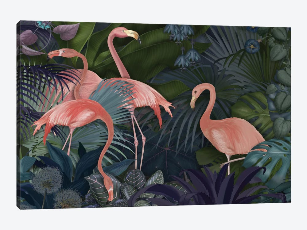 Flamingos In A Garden II 1-piece Canvas Art