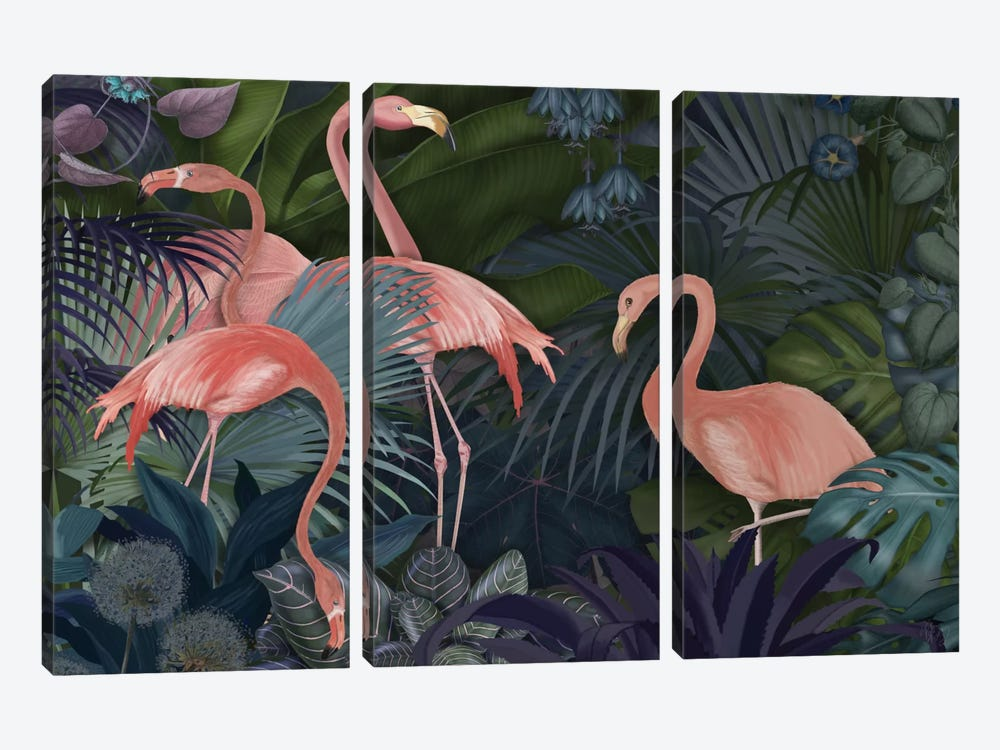 Flamingos In A Garden II 3-piece Canvas Artwork