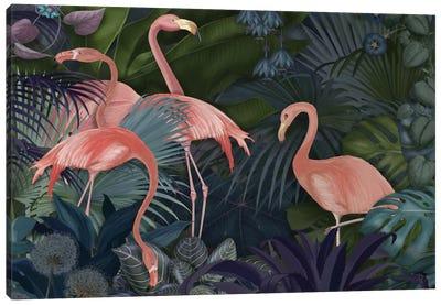 Flamingos In A Garden II Canvas Art Print