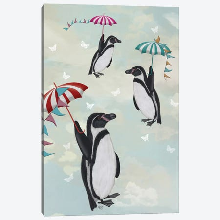 Floating Penguins II Canvas Print #FNK249} by Fab Funky Canvas Wall Art