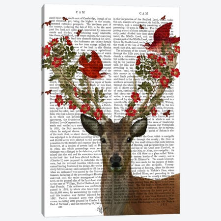 Deer And Love Birds Canvas Print #FNK24} by Fab Funky Canvas Wall Art