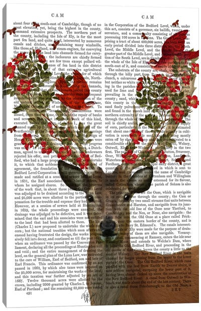 Deer And Love Birds Canvas Art Print