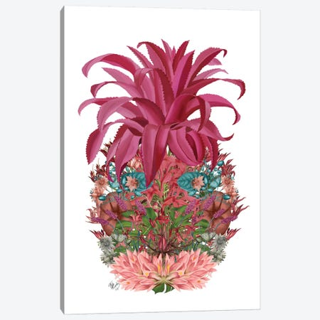 Floral Pineapple III Canvas Print #FNK252} by Fab Funky Canvas Art Print