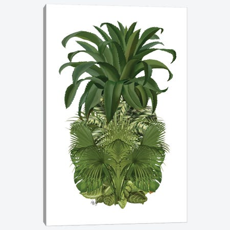 Floral Pineapple IV Canvas Print #FNK253} by Fab Funky Art Print