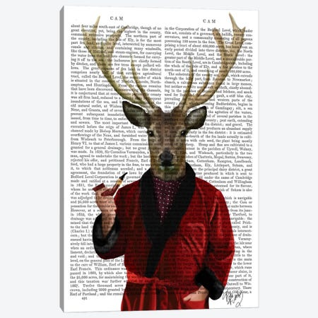 Deer In Smoking Jacket Canvas Print #FNK25} by Fab Funky Canvas Wall Art