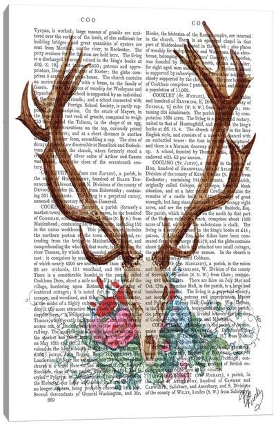 Deer Skull With Flowers I Canvas Print #FNK26