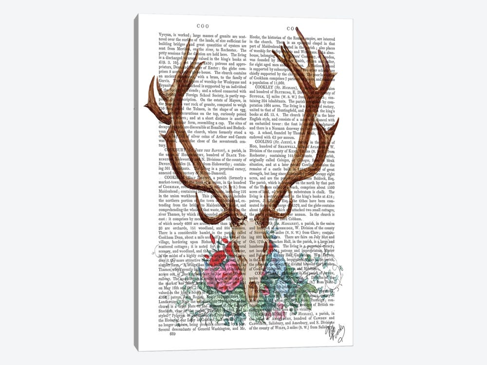 Deer Skull With Flowers I by Fab Funky 1-piece Canvas Wall Art
