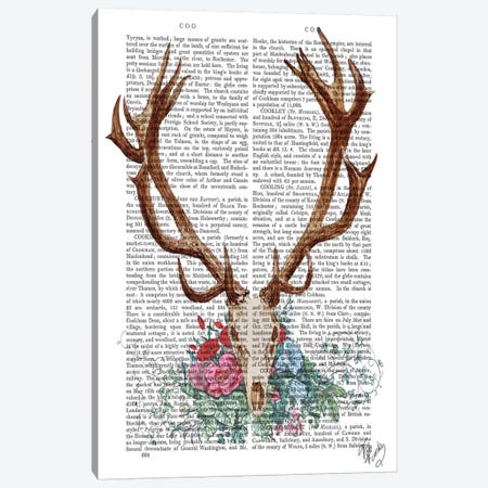Deer Skull With Flowers I Canvas Print #FNK26} by Fab Funky Canvas Artwork