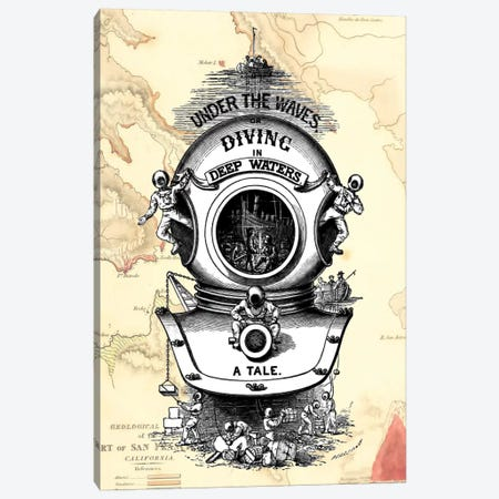 Diving Helmet On Map Canvas Print #FNK27} by Fab Funky Canvas Artwork