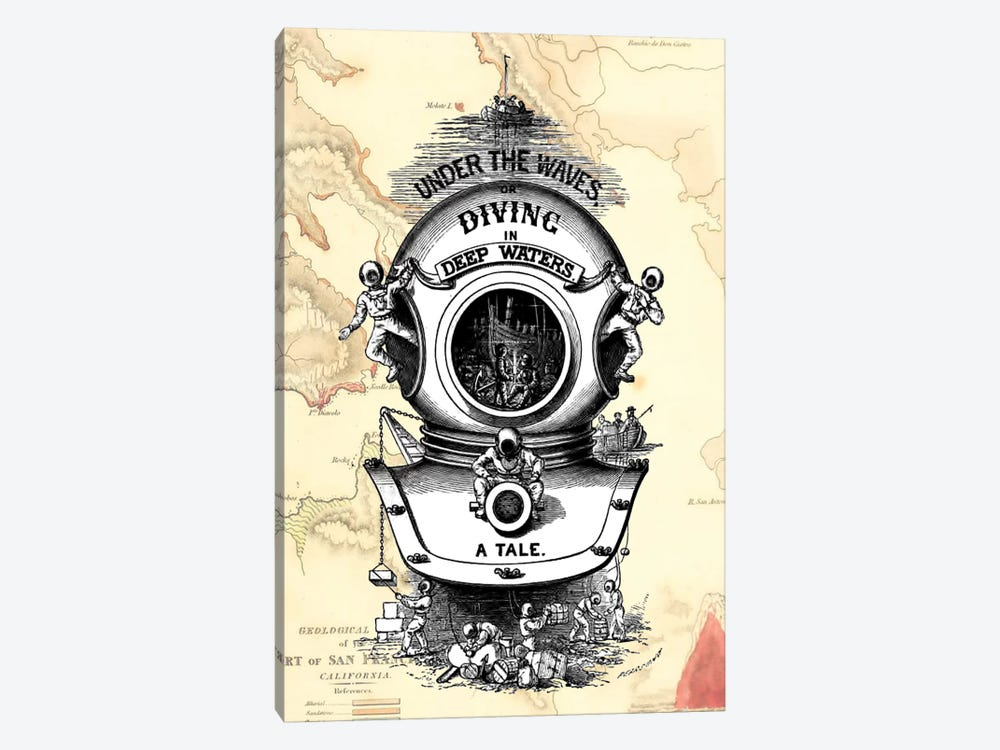 Diving Helmet On Map by Fab Funky 1-piece Canvas Art Print
