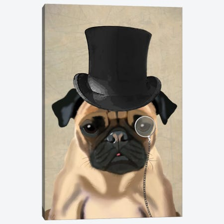 Pug II Canvas Print #FNK284} by Fab Funky Canvas Art Print