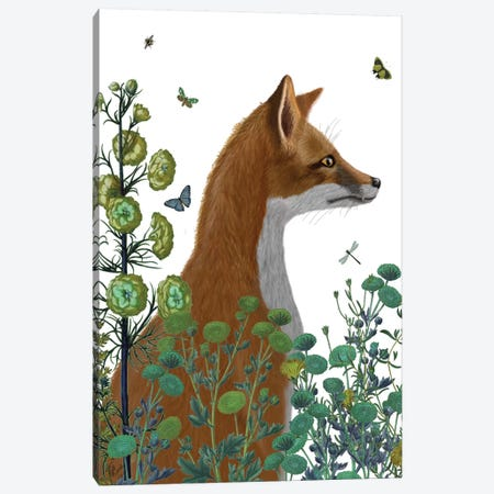 Fox In The Garden II Canvas Print #FNK295} by Fab Funky Canvas Art