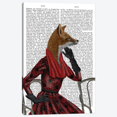 Fox With Red Scarf I Canvas Print #FNK306} by Fab Funky Canvas Artwork