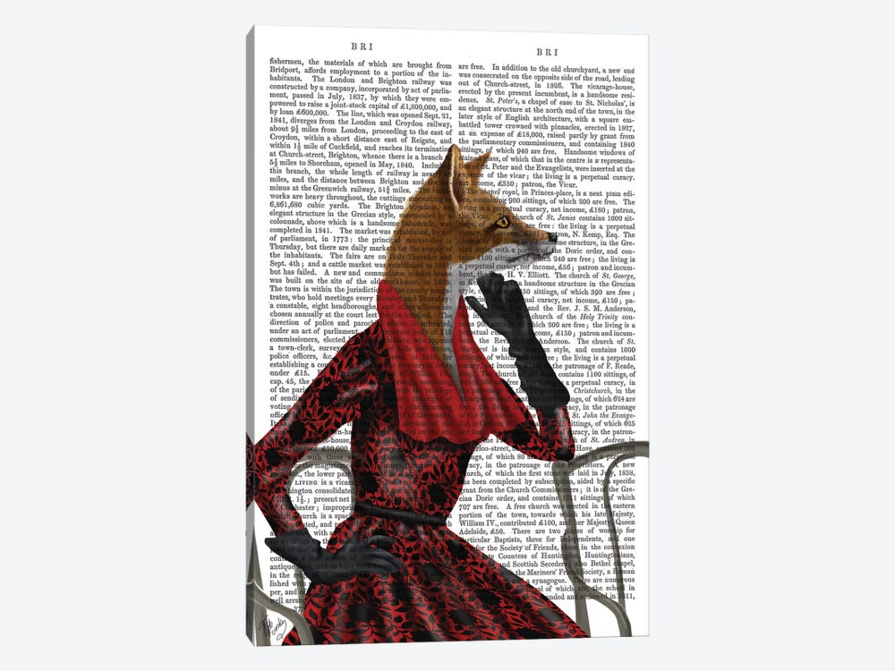 Fox With Red Scarf I by Fab Funky 1-piece Canvas Art