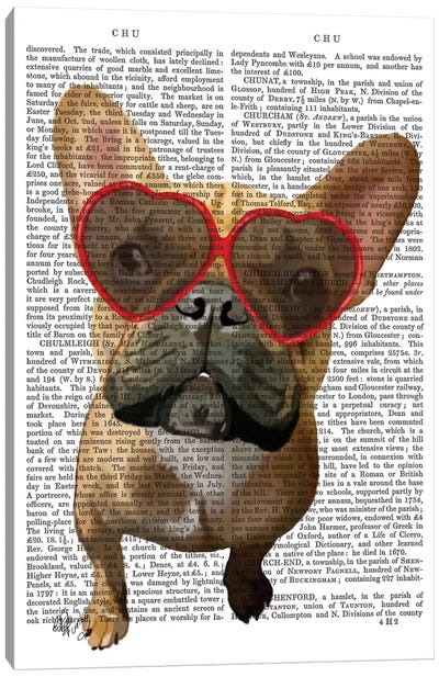 French Bulldog And Heart Glasses I Canvas Art Print