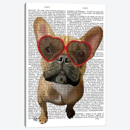 French Bulldog And Heart Glasses I Canvas Print #FNK309} by Fab Funky Art Print