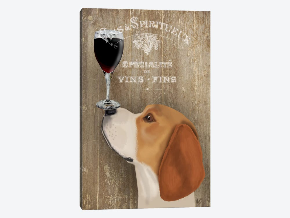 Dog Au Vine Beagle by Fab Funky 1-piece Art Print