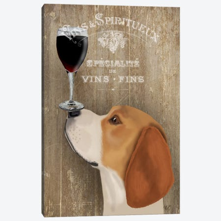 Dog Au Vine Beagle Canvas Print #FNK30} by Fab Funky Canvas Wall Art