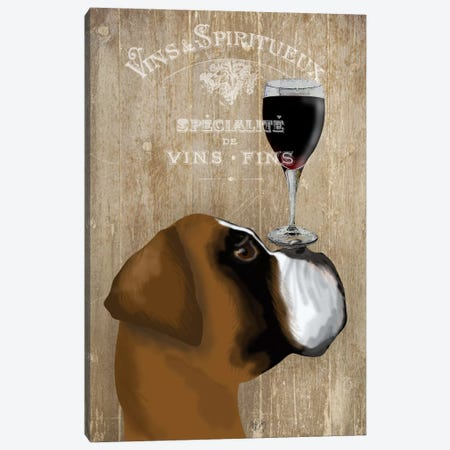 Dog Au Vine Boxer Canvas Print #FNK31} by Fab Funky Canvas Wall Art