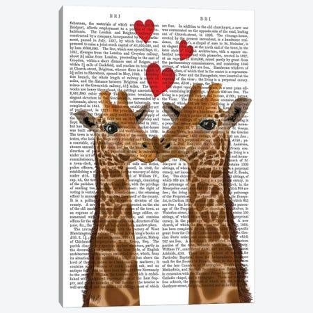 Giraffe Love Canvas Print #FNK320} by Fab Funky Canvas Art Print